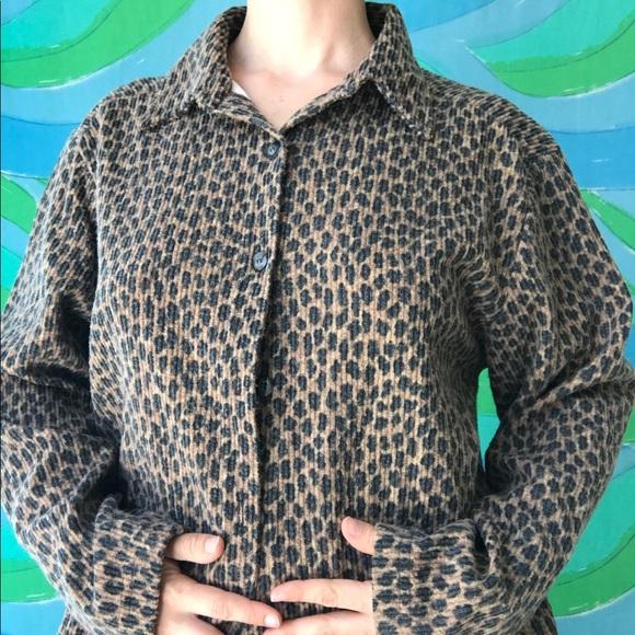 Size Medium Leopard Print Blouse  Vintage 90s Animal Print Button Long Sleeve Shirt  Leopard Top